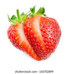 Strawberry. Sliced fruit isolated on white