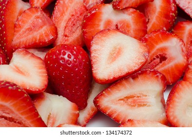 Strawberry slices close up.