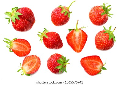 Strawberry with slices isolated on white background. top view