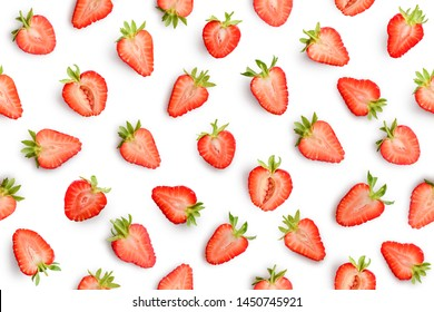 Strawberry slices as seamless pattern isolated on white background
