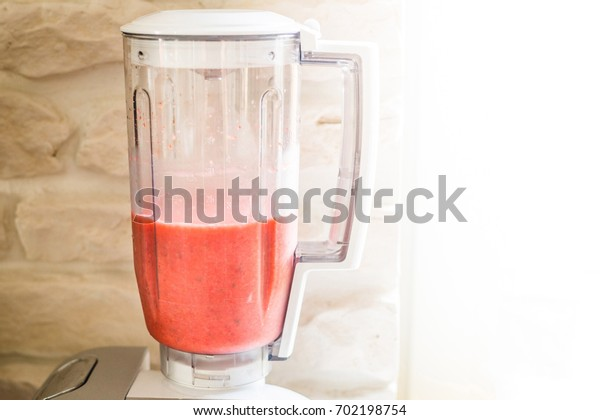Strawberry Smoothie in Blender, Healthy Breakfast Concept