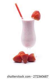 strawberry smoothie, cast with fresh strawberries, milk, yogurt and honey