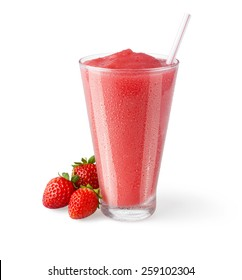 Strawberry Smoothie or Cocktail in a Glass with Straw and Garnish on a White Background