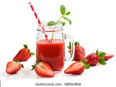 Strawberry smoothie decorated with mint with fresh strawberries isolated on white background.