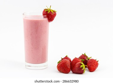 Strawberry smoothie with fresh strawberry isolated on white background