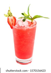 strawberry smoothie with ice on a white background