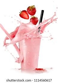 Strawberry smoothie splash