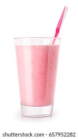 strawberry smoothie with straw in glass isolated on white background. Pink milkshake. Healthy drink