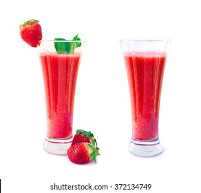 strawberry smoothies isolated on white background, Strawberry Smoothie in a Glass with Straw and Garnish, Strawberry smoothie with fresh strawberry collection
