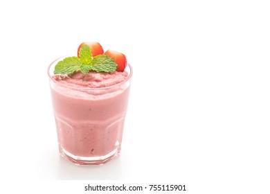 strawberry smoothies milkshake isolated on white background