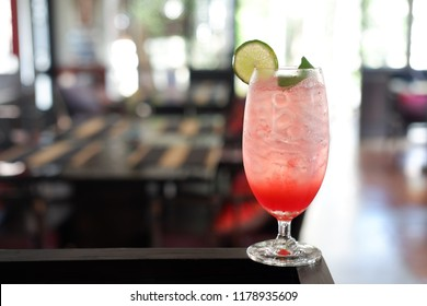 strawberry soda glasses at bar and drink background