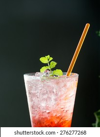strawberry soda with peppermint on top