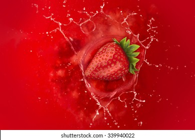strawberry splash into juice liquid red