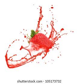 Strawberry in splash, isolated on white background