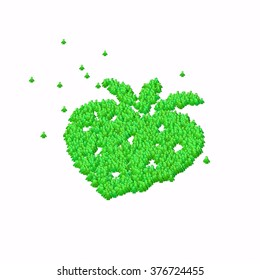 Strawberry symbol. Glyph out of tiny textures. Particles representing human and his emotions.
