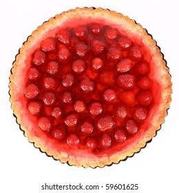 Strawberry Tart in a tart pan on a white background