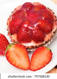 Strawberry Tart Showing Fruit Pie And Food