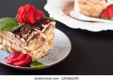 Strawberry tiramisu with mascarpone and mint