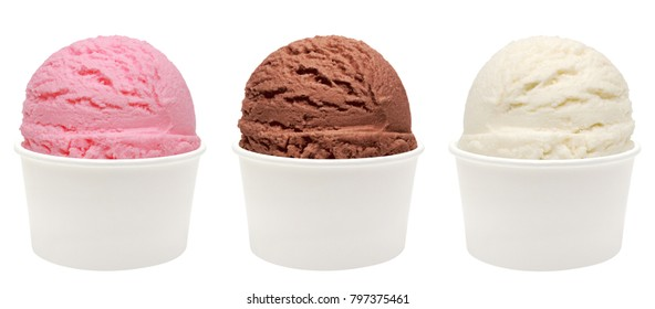 Strawberry, vanilla, chocolate different flavor ice cream scoops side view on white background