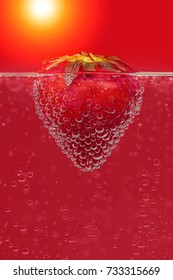 Strawberry in water closeup