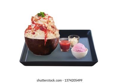 strawberry white choc bingsu set isolated on white background with clipping path.