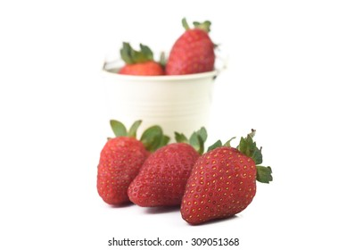 Strawberry with white isolated out of focus background