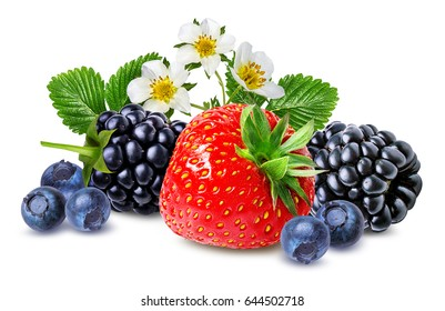 strawberry,blackberry, bilberry, blueberries isolated on white background