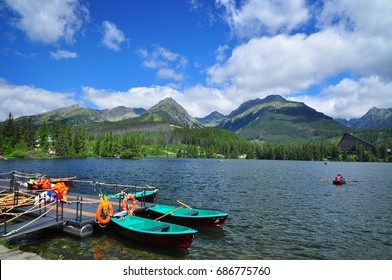 Strbske lake in high tatras mountains