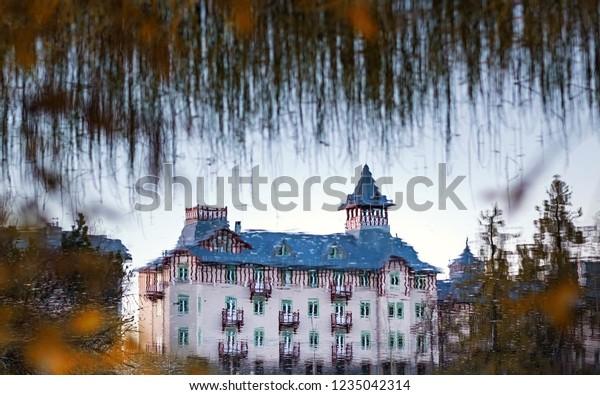 Strbske Pleso In Slovak High Tatras At Autumn.  Strbske Lake in Autumn, Slovak Republic.