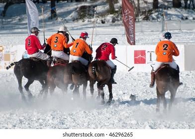 STRBSKE PLESO, SLOVAKIA - FEBRUARY 6: J&T Bank Trophy 2010 - Polo on snow - semifinal match between Cartier and BMW team on February 6, 2010 in Strbske Pleso, Slovakia.