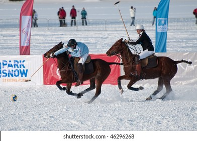 STRBSKE PLESO, SLOVAKIA - FEBRUARY 6: J&T Bank Trophy 2010 - Polo on snow - semifinal match between Bollinger and Park Snow team on February 6, 2010