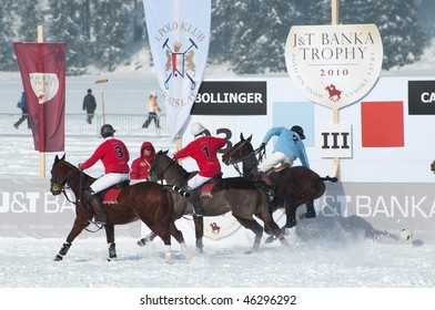 STRBSKE PLESO, SLOVAKIA - FEBRUARY 7: J&T Bank Trophy 2010 - Polo on snow - match for 3rd place between Cartier and Bollinger team on February 7, 2010 in Strbske Pleso, Slovakia.