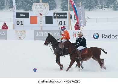 STRBSKE PLESO, SLOVAKIA - FEBRUARY 7: J&T Bank Trophy 2010 - Polo on snow - final match between BMW and Park Snow team on February 7, 2010 in Strbske Pleso, Slovakia.