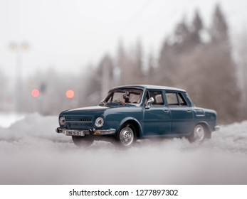 STRBSKE PLESO, SLOVAKIA - JANUARY 08 2019: Scale model ŠKODA 110 on snowy road. Classic car on snowy road. SKODA 110 on Strbske pleso in High Tatras.