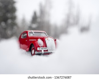 STRBSKE PLESO, SLOVAKIA - JANUARY 08 2019: Scale model ŠKODA Popular Rally Monte Carlo on snowy road. Classic car on snowy road. SKODA Popular on Strbske pleso in High Tatras.