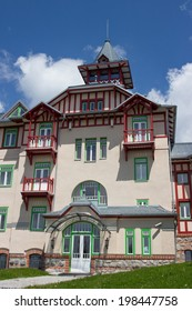 STRBSKE PLESO, SLOVAKIA - JUNE 8 2014: Interesting hotel with modern architecture