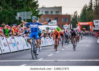 STRBSKE PLESO, SLOVAKIA, SEPTEMBER 13, 2018: French professional cyclist Julian Alaphilippe celebrate victory on cycling race Okolo Slovenska