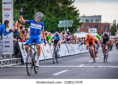STRBSKE PLESO, SLOVAKIA, SEPTEMBER 13, 2018: French professional cyclist Julian Alaphilippe celebrate victory on cycling race Okolo Slovenska