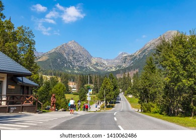 Strbske Pleso, Slovakia - September 20, 2018: Start of the hiking trail to Skok waterfall (1789m) (Slovak: Vodopad Skok) in Mlynicka Valley, High Tatras Mountains (Vysoke Tatry)