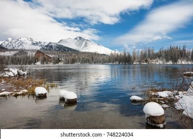 Strbske Pleso winter lake tourist attraction in High Tatras, Slovakia