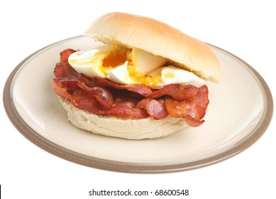 Streaky bacon and poached egg roll