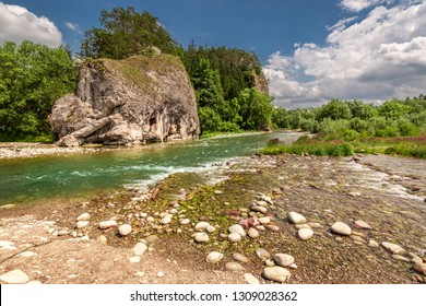 Stream Bialka in the pieniny mountains in sunny day, Poland