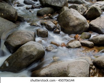 Stream with big rocks in color