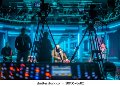stream at a concert in a hall without spectators during a pandemic - Shutterstock ID 1890678682