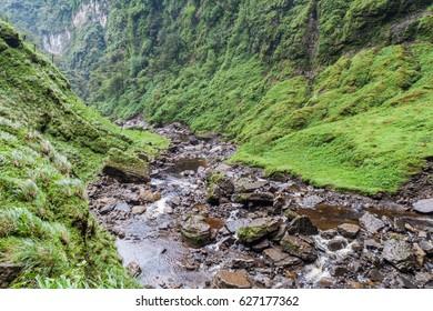 Stream flowing from Catarata del Gocta waterfall in northern Peru