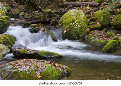 A stream flowing down a mountain in the Smokies.
