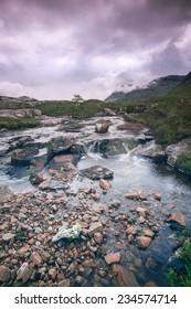 Stream flowing in a remote Scottish glen. Glencoe, Scotland, UK