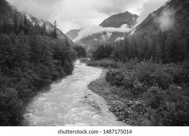 Stream Flowing through a Valley in Alaska - Black and White