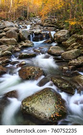 Stream in Greenbriar near Ramsey Cascades Trail in Great Smoky Mountains National Park with Fall Colors