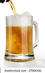 Stream of light alcohol beer pouring into a glass from bottle with froth isolated over white background.